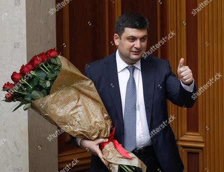 Newly Elected Ukrainian Prime Minister Volodymyr Groysman Holds Flowers During a Session of Ukrainian Parliament in Kiev Ukraine 14 April 2016 the Ukrainian Parliament on 14 April 2016 Appointed Parliament Speaker Volodymyr Groysman to the Post of the Prime Minister of Ukraine After Dismissing Arseniy Yatsenyuk a Majority of the Ukrainian Lawmakers Earlier Had Accused Yatsenyuk of Being Unable to Combat Corruption and to Introduce Structural Reforms Demanded by the International Community Ukraine Kiev