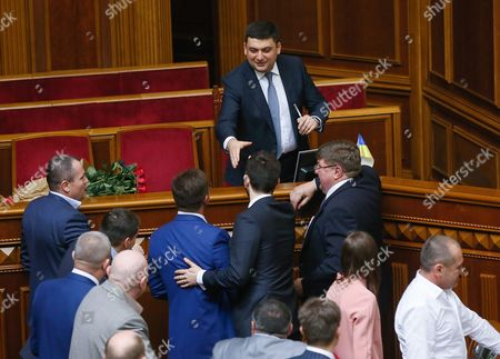 Lawmakers Congratulate Newly Elected Ukrainian Prime Minister Volodymyr Groysman (c) During a Session of Ukrainian Parliament in Kiev Ukraine 14 April 2016 the Ukrainian Parliament on 14 April 2016 Appointed Parliament Speaker Volodymyr Groysman to the Post of the Prime Minister of Ukraine After Dismissing Arseniy Yatsenyuk a Majority of the Ukrainian Lawmakers Earlier Had Accused Yatsenyuk of Being Unable to Combat Corruption and to Introduce Structural Reforms Demanded by the International Community Ukraine Kiev