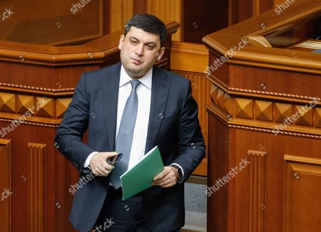 Newly Elected Ukrainian Prime Minister Volodymyr Groysman Walks Off After Speaking to Lawmakers During a Session of Ukrainian Parliament in Kiev Ukraine 14 April 2016 the Ukrainian Parliament on 14 April 2016 Appointed Parliament Speaker Volodymyr Groysman to the Post of the Prime Minister of Ukraine After Dismissing Arseniy Yatsenyuk a Majority of the Ukrainian Lawmakers Earlier Had Accused Yatsenyuk of Being Unable to Combat Corruption and to Introduce Structural Reforms Demanded by the International Community Ukraine Kiev