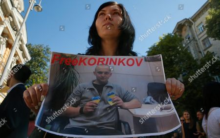 An Ukrainian Woman Holds a Portrait of Ukrainian Serviceman who was Captured by Pro-russian Separatists During the Conflict in Eastern-ukrainian and is Still Kept As Prisoners of War During a Rally in Front of the Presidential Office in Kiev Ukraine 08 August 2016 the Protesters Urged the Ukrainian Government to Speed Up the Releasing and Returning of Ukrainian Prisoners of War From Pro-russian Separatists' Captivity the Rally was Organized by Ukrainian Military Pilot and Parliamentarian Nadezhda Savchenko who was Released From a Russian Jail on 25 May 2016 Ukraine Kiev