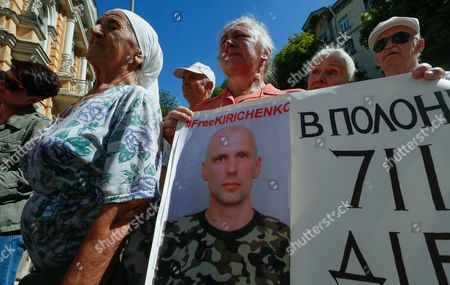 Ukrainian Activists Hold Portraits of Ukrainian Servicemen who Were Captured by Pro-russian Separatists During the Conflict in Eastern-ukrainian and Are Still Kept As Prisoners of War During a Rally in Front of the Presidential Office in Kiev Ukraine 08 August 2016 the Protesters Urged the Ukrainian Government to Speed Up the Releasing and Returning of Ukrainian Prisoners of War From Pro-russian Separatists' Captivity the Rally was Organized by Ukrainian Military Pilot and Parliamentarian Nadezhda Savchenko who was Released From a Russian Jail on 25 May 2016 Ukraine Kiev