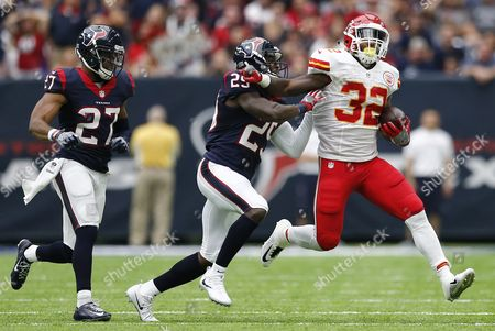 Stock Photo of Houston Texans Player Andre Hall (l) Pushes Against Kansas City Chiefs Player Spencer Ware (r) in the First Half of Their Game at Nrg Stadium in Houston Texas Usa 18 September 2016 United States Houston