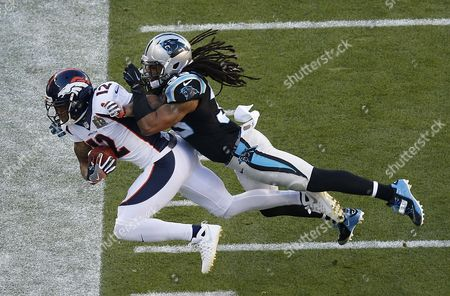 Stock Image of Carolina Panthers Free Safety Tre Boston (r) Knocks Denver Broncos Wide Receiver Andre Caldwell (l) out of Bounds During the First Half of the Nfl's Super Bowl 50 Between the Afc Champion Denver Broncos and the Nfc Champion Carolina Panthers at Levi's Stadium in Santa Clara California Usa 07 February 2016 United States Santa Clara