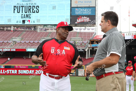 Ken Griffey Sr (l) Talks with Richard Stark (r) As He Prepares to Manage the U S Team Prior to the 2015 Mlb All-futures Game at the Great American Ball Park in Cincinnati Ohio Usa 12 July 2015 It Will Be Mlb's 86th Edition of the Major League Baseball All-star Game to Be Played 14 July 2015 United States Cincinnati