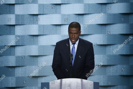 Stock Photo of Former South Carolina State Representative Bakari Sellers Delivers Remarks on the Final Day of the Democratic National Convention at the Wells Fargo Center in Philadelphia Pennsylvania Usa 28 July 2016 the Four-day Convention is Expected to End with Hillary Clinton Formally Accepting the Nomination of the Democratic Party As Their Presidential Candidate in the 2016 Election United States Philadelphia