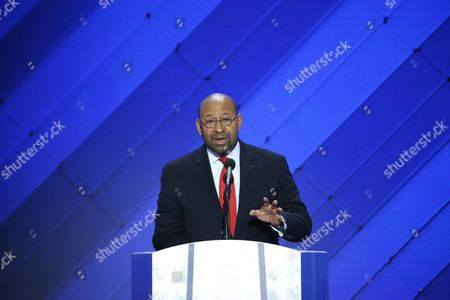 Stock Photo of Former Philadelphia Mayor Michael Nutter Delivers Remarks in the Wells Fargo Center on the Final Day of the 2016 Democratic National Convention in Philadelphia Pennsylvania Usa 28 July 2016 the Four-day Convention is Expected to End with Hillary Clinton Formally Accepting the Nomination of the Democratic Party As Their Presidential Candidate in the 2016 Election United States Philadelphia