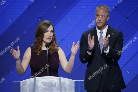 Lgbt Rights Activist and First Transgender Person to Speak at the Dnc Sarah Mcbride (l) with Co-chair of the Congressional Lgbt Equality Caucus Congressman From New York Sean Patrick Maloney Delivers Remarks in the Wells Fargo Center on the Final Day of the 2016 Democratic National Convention in Philadelphia Pennsylvania Usa 28 July 2016 the Four-day Convention is Expected to End with Hillary Clinton Formally Accepting the Nomination of the Democratic Party As Their Presidential Candidate in the 2016 Election Epa/shawn Thew United States Philadelphia