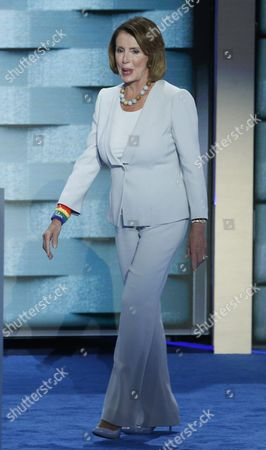 Us House Democratic Leader Nancy Pelosi Walks on Stage Prior to Delivering Remarks During the Final Day of the Democratic National Convention at the Wells Fargo Center in Philadelphia Pennsylvania Usa 28 July 2016 the Four-day Convention is Expected to End with Hillary Clinton Formally Accepting the Nomination of the Democratic Party As Their Presidential Candidate in the 2016 Election United States Philadelphia