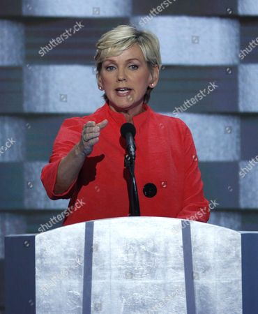 Former Michigan Governor Jennifer Granholm Delivers Remarks on Stage During the Final Day of the Democratic National Convention at the Wells Fargo Center in Philadelphia Pennsylvania Usa 28 July 2016 the Four-day Convention is Expected to End with Hillary Clinton Formally Accepting the Nomination of the Democratic Party As Their Presidential Candidate in the 2016 Election United States Philadelphia