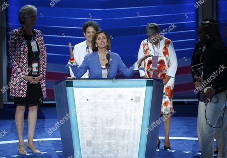House Democratic Leader Nancy Pelosi (c) During a Sound Check on the First Day of the 2016 Democratic National Convention at the Wells Fargo Center in Philadelphia Pennsylvania Usa 25 July 2016 the Four-day Convention is Expected to End with Hillary Clinton Formally Accepting the Nomination of the Republican Party As Their Presidential Candidate in the 2016 Election United States Philadelphia