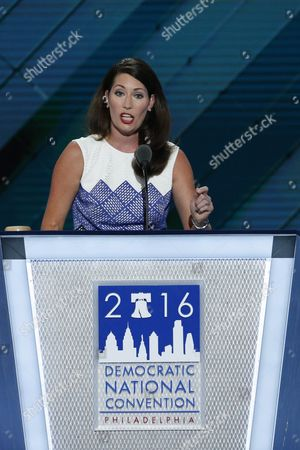 Kentucky Secretary of State Alison Lundergan Grimes Delivers Remarks in the Wells Fargo Center on Day 2 of the 2016 Democratic National Convention in Philadelphia Pennsylvania Usa 26 July 2016 the Four-day Convention is Expected to End with Hillary Clinton Formally Accepting the Nomination of the Democratic Party As Their Presidential Candidate in the 2016 Election United States Philadelphia