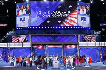 Us House Democratic Leader From California Nancy Pelosi with Female Democratic Us Representatives Delivers Remarks in the Wells Fargo Center on Day 2 of the 2016 Democratic National Convention in Philadelphia Pennsylvania Usa 26 July 2016 the Four-day Convention is Expected to End with Hillary Clinton Formally Accepting the Nomination of the Democratic Party As Their Presidential Candidate in the 2016 Election United States Philadelphia