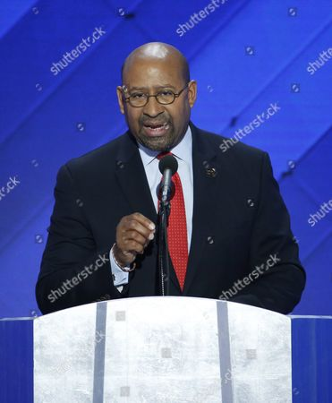 Former Philadelphia Mayor Michael Nutter Delivers Remarks in the Wells Fargo Center on the Final Day of the 2016 Democratic National Convention in Philadelphia Pennsylvania Usa 28 July 2016 the Four-day Convention is Expected to End with Hillary Clinton Formally Accepting the Nomination of the Democratic Party As Their Presidential Candidate in the 2016 Election United States Philadelphia