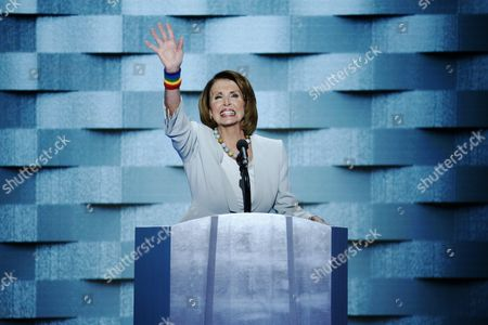 Us House Democratic Leader Nancy Pelosi Delivers Remarks on Stage During the Final Day of the Democratic National Convention at the Wells Fargo Center in Philadelphia Pennsylvania Usa 28 July 2016 the Four-day Convention is Expected to End with Hillary Clinton Formally Accepting the Nomination of the Democratic Party As Their Presidential Candidate in the 2016 Election United States Philadelphia
