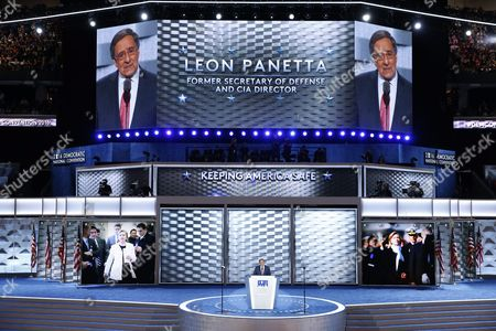 Former Congressman Director of the Central Intelligence Agency and Secretary of Defense Leon Panetta Delivers Remarks on the Third Day of the Democratic National Convention at the Wells Fargo Center in Philadelphia Pennsylvania Usa 27 July 2016 the Four-day Convention is Expected to End with Hillary Clinton Formally Accepting the Nomination of the Democratic Party As Their Presidential Candidate in the 2016 Election United States Philadelphia