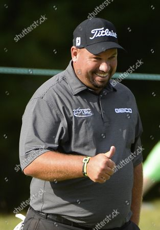 Brendon De Jonge of Zimbabwe Reacts After a Birdie on the Fifth Green During the First Round of the Deutsche Bank Tournament Held at the Tournament Players Club Boston in Norton Massachusetts Usa 04 September 2015 United States Norton
