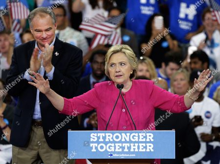 Stock Photo of Epa05447907 Us Democratic Presidential Candidate Hillary Clinton (r) Speaks to Supporters Next to Democratic Vice Presidential Candidate Tim Kaine (l) During a Campaign Rally at Temple University in Philadelphia Pennsylvania Usa 29 July 2016 Hillary Clinton Formally Accepted the Nomination of the Democratic Party As Their Presidential Candidate in the 2016 Election at the Democratic National Convention on 28 July Epa/peter Foley United States Philadelphia