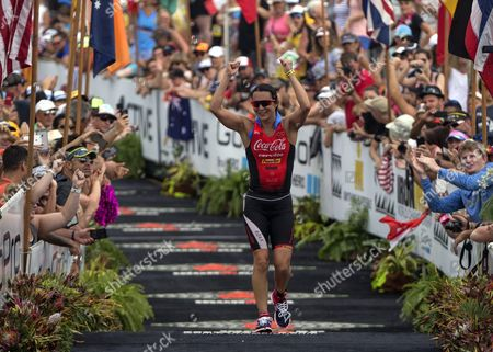 Rachel Joyce of the Uk Crosses Arrives to Finish Second in the Women's Division in the 2015 Ironman World Championship in Kailua-kona Hawaii Usa 10 October 2015 the Culmination of a Series of International Ironman Races on the World Championship Course the Athletes Compete in a 3 85 Km Swim Then a 180 Km Bike Ride to Finish It Off with a 42 195 Km Marathon Run United States Kailua-kona