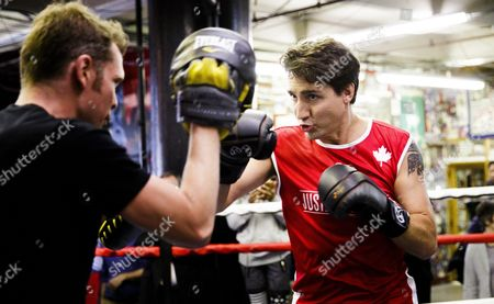 Stock Photo of Canadian Prime Minister Justin Trudeau (r) Spars with Yuri Foreman (l) During a Work out at Gleason's Gym in Brooklyn New York Usa 21 April 2016 Trudeau is in New York to Participate in the Formal Signing of the Paris Climate Agreement on 22 April at the United Nations United States Brooklyn