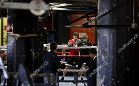 Stock Image of Canadian Prime Minister Justin Trudeau (l) Spars with Yuri Foreman (r) During a Work out at Gleason's Gym in Brooklyn New York Usa 21 April 2016 Trudeau is in New York to Participate in the Formal Signing of the Paris Climate Agreement on 22 April at the United Nations United States Brooklyn