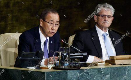 United Nations Secretary-general Ban Ki-moon (l) Speaks As Mogens Lykketoft (r) President of the Un General Assembly Listens at the Start of a High-level Meeting of the United Nations General Assembly on Hiv/aids in New York New York Usa on 08 June 2016 the Meeting is Meant to Push Countries Toward Ending Hiv/aids As a Public Health Crisis As Part of the Un's Sustainable Development Goals United States New York