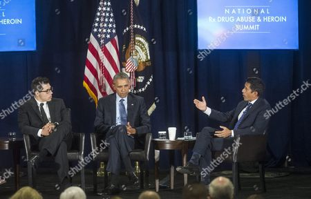 Us President Barack Obama (c) Listens Along with Opioid Addict Justin Riley As Neurosurgeon Dr Sanjay Gupta Asks a Question During Panel Discussion Held at the National Rx Drug Abuse Summit at the Americasmart in Atlanta Georgia Usa 29 March 2016 United States Atlanta