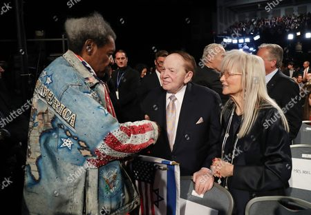 Us Boxing Promoter Don King (l) and Casino Magnatte Sheldon Adelson (c) and His Wife Miriam (r) Before the First Presidential Debate Between Democrat Hillary Clinton and Republican Donald Trump at Hofstra University in Hempstead New York Usa 26 September 2016 the Only Vice Presidential Debate Will Be Held on 04 October in Virginia and the Second and Third Presidential Debates Will Be Held on 09 October in Missouri and 19 October in Nevada United States Hempstead