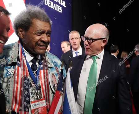 Us Boxing Promoter Don King (l) and New York Jets Owner Woody Johnson (r) Before the First Presidential Debate Between Democrat Hillary Clinton and Republican Donald Trump at Hofstra University in Hempstead New York Usa 26 September 2016 the Only Vice Presidential Debate Will Be Held on 04 October in Virginia and the Second and Third Presidential Debates Will Be Held on 09 October in Missouri and 19 October in Nevada United States Hempstead
