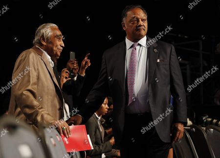 Us Representative From New York Charles Rangel (l) and the Rev Jesse Jackson (r) in the Crowd Before the First Presidential Debate Between Democrat Hillary Clinton and Republican Donald Trump at Hofstra University in Hempstead New York Usa 26 September 2016 the Only Vice Presidential Debate Will Be Held on 04 October in Virginia and the Second and Third Presidential Debates Will Be Held on 09 October in Missouri and 19 October in Nevada United States Hempstead