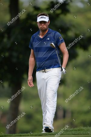 Stock Photo of Us Golfer Jeff Overton Reacts After Chiping in For Par on the 12th Hole During the First Round of the Quicken Loans National Golf Tournament at Robert Trent Jones Golf Club in Gainesville Virginia Usa 30 July 2015 the Quicken Loans National Runs 30 July-02 August United States Gainesville