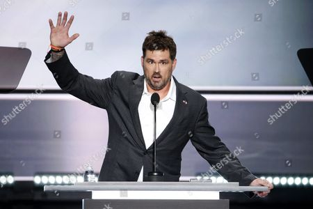 Stock Photo of Us Former Navy Seal Marcus Luttrell Gestures During the First Day of the 2016 Republican National Convention at Quicken Loans Arena in Cleveland Ohio Usa 18 July 2016 the Four-day Convention is Expected to End with Donald Trump Formally Accepting the Nomination of the Republican Party As Their Presidential Candidate in the 2016 Election United States Cleveland