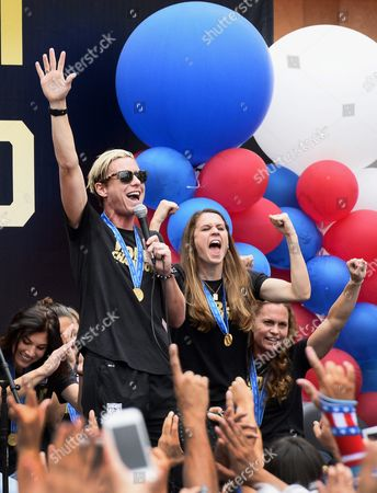 Us Women's National Soccer Team Players (l-r) Hope Solo Abby Wambach Heather O'reilly and Christie Rampone Celebrate with Fans During a Rally For the Team in Downtown Los Angeles California Usa 07 July 2015 the Us Team Were Honored at the Rally by Some 10 000 Fans After Winning the Fifa Women's World Cup 2015 Final Between the Usa and Japan in Vancouver Canada on 05 July 2015 United States Los Angeles