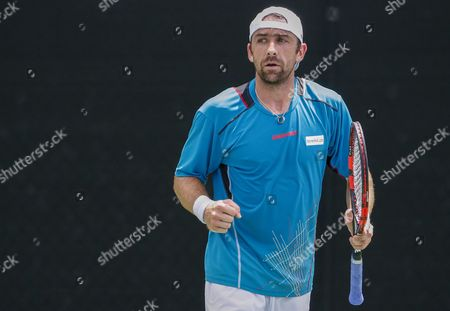Benjamin Becker of Germany Reacts Against Michael Berrer of Germany During a First Round Match at the Bb&t Atlanta Open Tennis Tournament at Atlantic Station in Atlanta Georgia Usa 28 July 2015 United States Atlanta