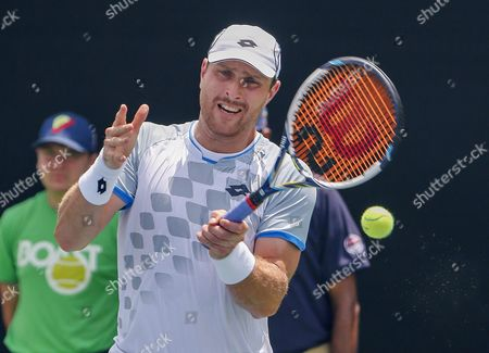 Michael Berrer of Germany in Action Against Benjamin Becker of Germany During a First Round Match at the Bb&t Atlanta Open Tennis Tournament at Atlantic Station in Atlanta Georgia Usa 28 July 2015 United States Atlanta