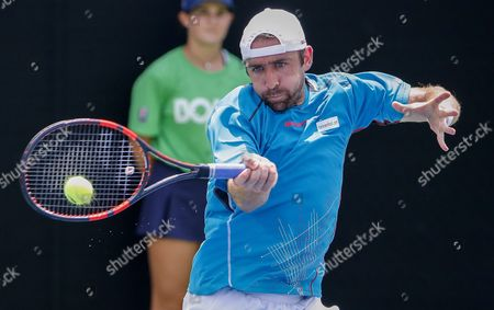 Benjamin Becker of Germany in Action Against Michael Berrer of Germany During a First Round Match at the Bb&t Atlanta Open Tennis Tournament at Atlantic Station in Atlanta Georgia Usa 28 July 2015 United States Atlanta
