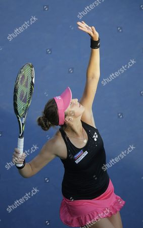 Stock Picture of Belinda Bencic of Switzerland Serves to Sesil Karatantcheva of Bulgaria During Their Match on the First Day of the 2015 Us Open Tennis Championship at the Usta National Tennis Center in Flushing Meadows New York Usa 31 August 2015 the Us Open Runs Through 13 September Which is a Return to a 14-day Schedule United States Flushing Meadows