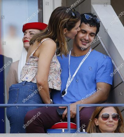 Us Actress Katherine Mcphee (l) and British Actor Elyes Gabel in the Stands As Stan Wawrinka of Switzerland Plays Donald Young of the Us During Their Match on the Eighth Day of the 2015 Us Open Tennis Championship at the Usta National Tennis Center in Flushing Meadows New York Usa 07 September 2015 the Us Open Runs Through 13 September Which is a Return to a 14-day Schedule United States Flushing Meadows