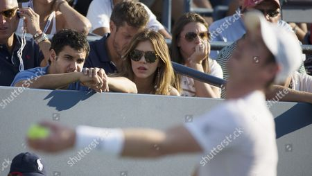 Us Actress Katherine Mcphee (c) and British Actor Elyes Gabel (l) Watch Kevin Anderson of South Africa Play Andy Murray of Great Britain (r) During Their Match on the Eighth Day of the 2015 Us Open Tennis Championship at the Usta National Tennis Center in Flushing Meadows New York Usa 07 September 2015 the Us Open Runs Through 13 September Which is a Return to a 14-day Schedule United States Flushing Meadows