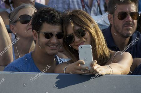 Us Actress Katherine Mcphee (r) and British Actor Elyes Gabel Take a Selfie As They Watch Kevin Anderson of South Africa Play Andy Murray of Great Britain During Their Match on the Eighth Day of the 2015 Us Open Tennis Championship at the Usta National Tennis Center in Flushing Meadows New York Usa 07 September 2015 the Us Open Runs Through 13 September Which is a Return to a 14-day Schedule United States Flushing Meadows