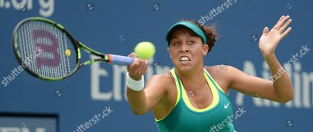 Madison Keys of the Us Hits a Return to Tereza Smitkova of the Czech Republic During Their Match on the Third Day of the 2015 Us Open Tennis Championship at the Usta National Tennis Center in Flushing Meadows New York Usa 02 September 2015 the Us Open Runs Through 13 September Which is a Return to a 14-day Schedule United States Flushing Meadows
