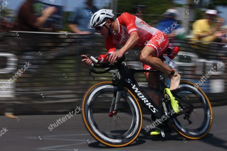 Ben Hoffman of the Usa During the Men's Cycling Stage of the of the 2015 Ironman World Championship in Kailua-kona Hawaii Usa 10 October 2015 the Culmination of a Series of International Ironman Races in the World Championship Course the Athletes Compete in a 3 85 Km Swim Then a 180 Km Bike Ride to Finish It Off with a 42 195 Km Marathon Run United States Kailua-kona
