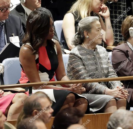 Us First Lady Michelle Obama (l) and United Nations Secretary General's Wife Yoo Soon-taek Sit in the Delegates Seats Listening to Us President Barack Obama's Address to the General Debate of the 71st Session of the United Nations General Assembly at Un Headquarters in New York New York Usa 20 September 2016 United States New York