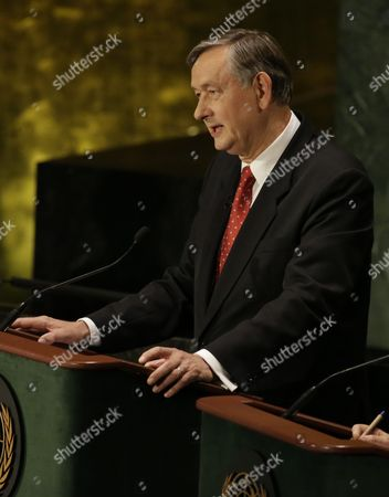 Stock Image of Candidate For the Post of United Nations Secretary-general Danilo Turk Chair of the Global Fairness Initiative and Former President of Slovenia Speaks at a Global Town Hall Meeting at the United Nations (un) Headquarters in New York New York Usa 12 July 2016 the Event Entitled 'Leading the United Nations: a Global Townhall with Un Secretary-general Candidates ' Saw Un Secretary-general Candidates Debating and Explaining Their Vision of the Future of the Organization United States New York