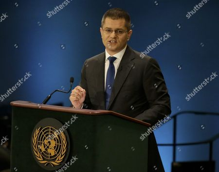 Candidate For the Post of United Nations Secretary-general Vuk Jeremic President of the Centre For International Relations and Sustainable Development and Former Minister of Foreign Affairs From Serbia Speaks at a Global Town Hall Meeting at United Nations (un) Headquarters in New York New York Usa 12 July 2016 the Event Entitled 'Leading the United Nations: a Global Townhall with Un Secretary-general Candidates ' Saw Un Secretary-general Candidates Debating and Explaining Their Vision of the Future of the Organization United States New York