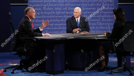 Stock Picture of Republican Mike Pence (c) and Democrat Tim Kaine (l) with Moderator Elaine Quijano (r) During the Only Vice Presidential Debate at Longwood University in Farmville Virginia Usa 04 October 2016 the Second and Third Presidential Debates Will Be Held on 09 October in Missouri and 19 October in Nevada United States Farmville