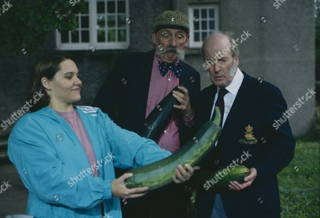 Stan Richards (as Seth Armstrong) and Ronald Magill (as Amos Brearly) are stunned when their entries into the horticultural show are beaten by Julie and Nick's marrow, with Ruth Whitehead (as Julie Bramhope - Ruth Whitehead) (Ep 1804 - 30th September 1993)