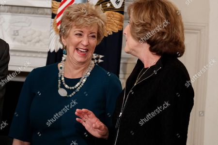 Donald Trump, Linda McMahon, Denise Morrison Small Business Administration Administrator Linda McMahon, left, talks with Campbell Soup CEO Denise Morrison in the Roosevelt Room of the White House in Washington, before a meeting between President Donald Trump and manufacturing executives