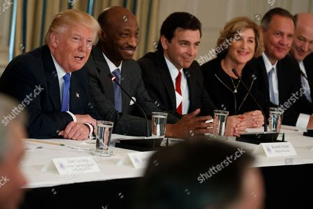 Donald Trump, Gary Cohn, Kenneth Frazier, Mark Fields, Denise Morrison, Greg Hayes President Donald Trump speaks during a meeting with manufacturing executives in the Roosevelt Room of the White House in Washington,. From left are, Trump, Merck CEO Kenneth Frazier, Ford CEO Mark Fields, Campbell Soup CEO Denise Morrison, United Technologies Corporation CEO Greg Hayes, and Director of the National Economic Council Gary Cohn