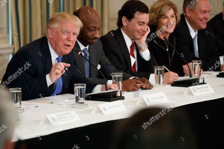 Donald Trump, Kenneth Frazier, Mark Fields, Denise Morrison, Greg Hayes President Donald Trump speaks during a meeting with manufacturing executives in the Roosevelt Room of the White House in Washington,. From left are, Trump, Merck CEO Kenneth Frazier, Ford CEO Mark Fields, Campbell Soup CEO Denise Morrison, and United Technologies Corporation CEO Greg Hayes
