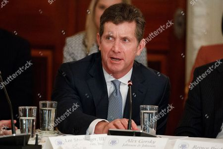 Donald Trump, Alex Gorsky Johnson and Johnson CEO Alex Gorsky speaks during a meeting between President Donald Trump and manufacturing executives at the White House in Washington, in Washington